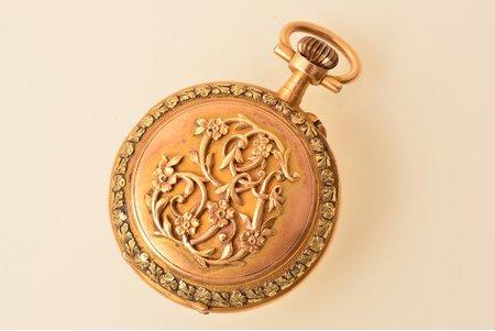 pocket watch, France, gold, 18 K standart, 25.00 g, 3.8 x 2.9 cm, 25 mm