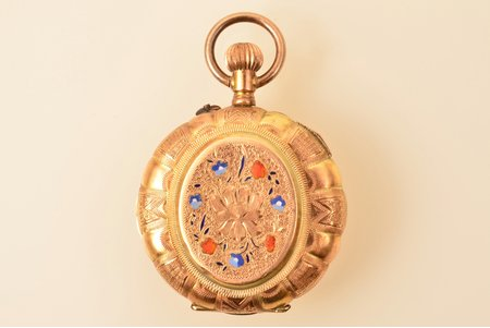 "pocket watch, ""Cylindre"", gold, enamel, 56, 14 K standart, 24.10 g, 4 x 3.1 cm, 26 mm"