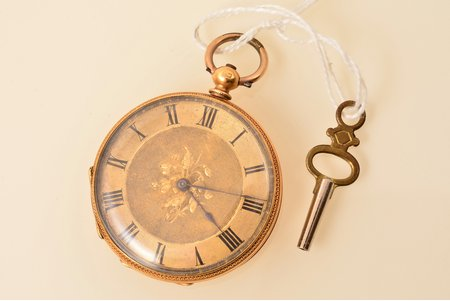 pocket watch, with keys, gold, metal, 18 K standart, (total) 46.66 g, 4.8 x 4.1 cm, 38 mm