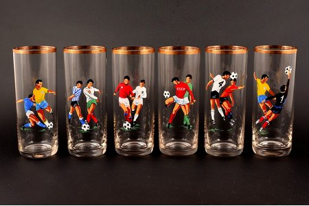 glass complect, 6 pcs. Football championship in Mexico, Latvia, USSR, the 80ies of 20th cent., h 14.8, Ø 5.9 cm