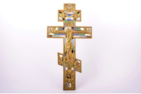 cross, The Crucifixion of Christ, copper alloy, 5-color enamel, Russia, the border of the 19th and the 20th centuries, 38.1 x 19.6 x 0.7 cm, 1322.1 g.