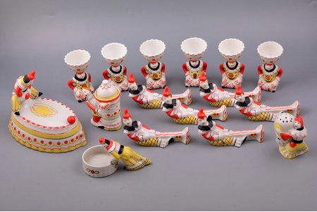 "breakfast service, ""Clown"", for 6 persons (16 items), porcelain, Baranivka porcelain factory, USSR, the 50-60ies of 20th cent., h (egg cup) 8.4 cm, knife rest 11.7x3.8 x 6.8 cm, butter dish 15x10.4x 12.7 cm, third grade, glued crack on the salt cellar, small chips on the surface of the egg cups"