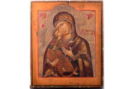 icon, Our Lady of Vladimir, painted on gold, board, painting, Russia, 31.1 x 25.4 x 2.8 cm