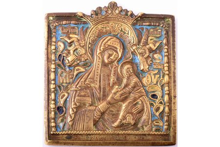 icon, the Mother of God (Strastnaya), copper alloy, 4-color enamel, Russia, the beginning of the 20th cent., 9.3 x 8.4 x 0.5 cm, 293.05 g.