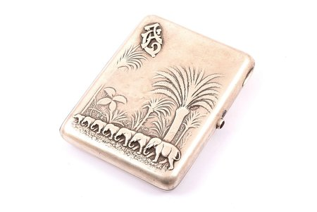 cigarette case, silver, 875 standart, the 20-30ties of 20th cent., 209.80 g, Latvia, 11.1 x 9 x 1.7 cm
