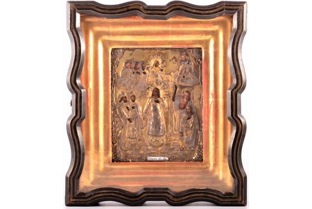 icon, Protection of the Mother of God, in icon case, silver oklad with enamel detail, board, silver, painting, guilding, 84 standart, Russia, 1861, 17.9 x 14.4 x 1.8 / 29.4 x 25.8 x 7 cm, oklad weight 79.05 g.
