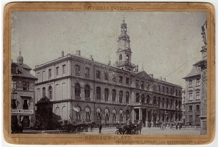 photography, City hall square (on cardboard), Latvia, Russia, beginning of 20th cent., 16.5 x 11 cm