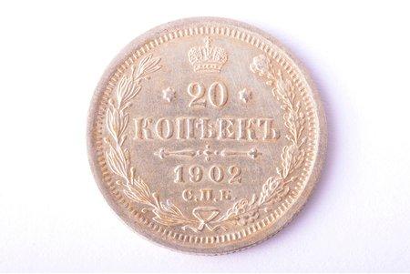 20 kopecks, 1902, AR, SPB, silver billon (500), Russia, 3.54 g, Ø 22 mm, AU, XF
