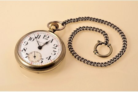 """pocket watch, """"Paul Buhre"""", Switzerland, the beginning of the 20th cent., metal, 8 x 5.5 cm, 47 mm, wiht engraving L.V.Dz-c. (Latvian railroad), mechanism working well"""