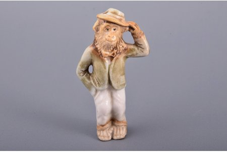 figurine, Monkey, porcelain, Riga (Latvia), Riga porcelain factory, author's edition, molder - Aria Tsipruse, the 90ies of 20th cent., the 80ies of 20th cent., h 5.3 cm