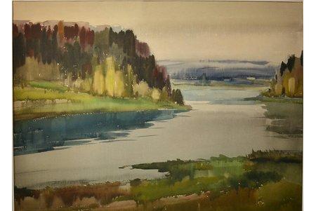 Юркелис Эдуард (1910-1978), Пейзаж с рекой, бумага, акварель, 58 x 79 см