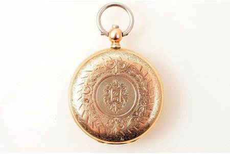 pocket watch, Switzerland, gold, 56 standart, total weight 72.23 g, 42.3 mm, in working condition