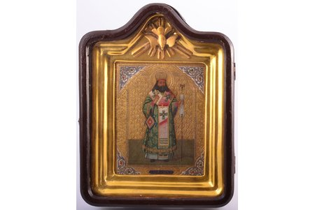icon, Saint Theodosius, Archbishop of Chernigov; in icon case, board, painting, gold leafy, Russia, the border of the 19th and the 20th centuries, 29 x 22 x 6.8 / 18 x 14.4 x 2 cm