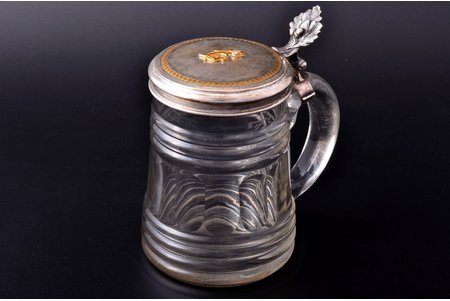 bear mug, silver, glass, gold, brilliant, ~ 0.15 carat, h 15.3 cm, without hallmarks; metal examination and confirmation of the precious stone in the Assay Office of Latvia is included in the lot price