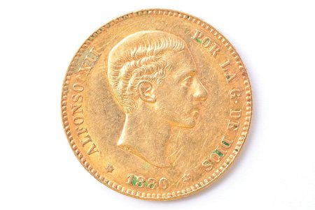 25 pesetas, 1880, M, MS, gold, Spain, 8.03 g, Ø 24 mm, XF