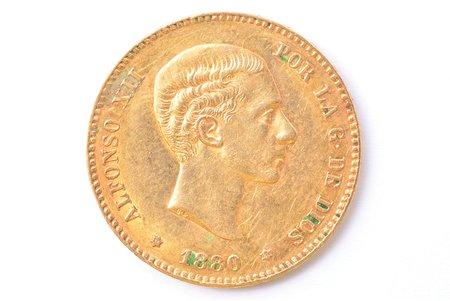 25 песет, 1880 г., M, MS, золото, Испания, 8.03 г, Ø 24 мм, XF