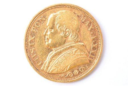 20 lire, 1868, R, gold, Italy, 6.40 g, Ø 21.6 mm, XF, VF
