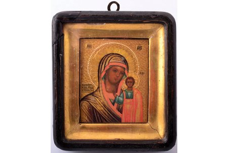 icon, Our Lady of Kazan, in icon case, board, painting, gold leafy, 84 standart, Russia, the end of the 19th century, 8.6 x 7 x 1.2  /  13.3 x 11.9 x 3.8 cm
