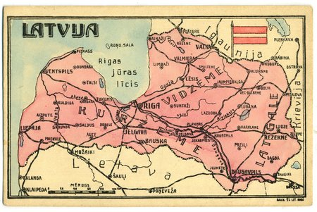 postcard, map of the Republic of Latvia, Latvia, 20-30ties of 20th cent., 14x9 cm