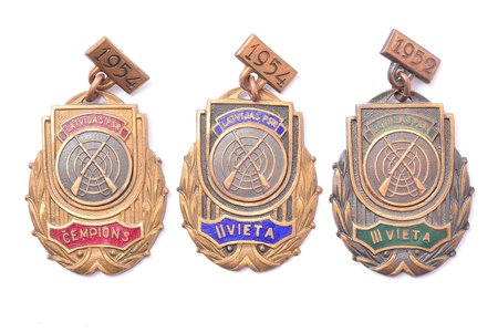 set, 3 badges, champion, 2nd, 3rd place in shooting, Latvia, USSR, 1952, 1954, 46.5 x 29.1 / 46.7 x 29.3 / 47.5 x 28.9 mm