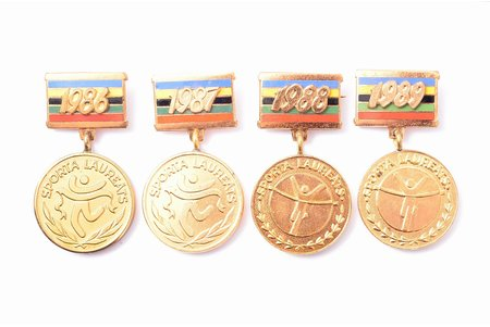 set, 4 badges, Laureate of sport, Latvian SSR state comitee of physical culture and sports, Latvia, USSR, 1986-1989, 46 x 25.5 / 45 x 25.6 / 46.2 x 25.1 / 45.7 x 25.3 mm