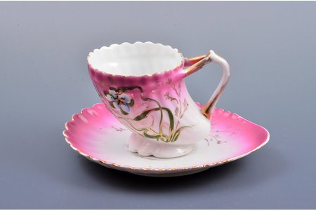 "tea pair, ""Сornucopia"", porcelain, I. E. Kuznetsov Plant on Volkhov, Russia, the border of the 19th and the 20th centuries, h (cup) 7.4 см, saucer 14.7 x 12.7 cm"