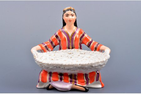 figurine, Uzbek Grl with a Basket, porcelain, USSR, LFZ - Lomonosov porcelain factory, molder - Galina Stolbova, the 50-60ies of 20th cent., 10.7 cm, first grade