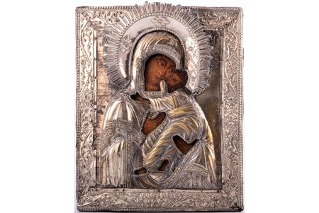 icon, Mother of God, board, silver, painting, metal, Russia, 1731-1829, 32 x 26.2 x 3 cm, oklad - silver, metal (1731), wreath is not original (1829)