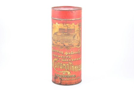 box, N. Syromyatnikov's chocolate and sweets factory, Saint-Petersburg, metal, Russia, the beginning of the 20th cent., h 26.5 cm
