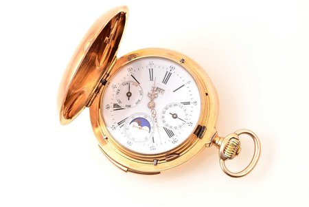 pocket watch, minute repeater, Switzerland, gold, 18 K standart, (total weight) 151.55 g, 7.2 x 6 cm, Ø (dial) 44.7 mm, in working codition