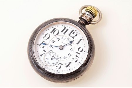 """pocket watch, """"Elgin"""", USA, metal, 7.7 x 5.7 cm, Ø (dial) 46.1 mm, removed overelay, in working condition"""