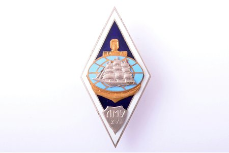 badge, Marine college of Liepāja, XVI graduation, Latvia, USSR, 70-80ies of 20th cent., 53.2 x 26.5 mm