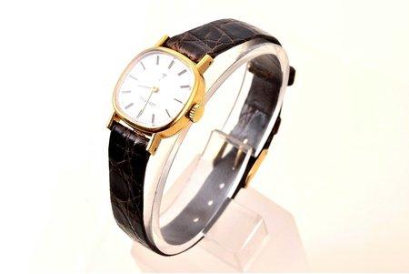 """наручные часы, """"Tissot"""", Швейцария, золото, 18 K проба, (общий вес) 14.40 г, 26 x 22 см, (циферблат) 18.9 x 18.9 мм, на ходу"""