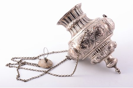 sanctuary lamp, silver, the 18th cent., 346.85 g, Russia, h 18.2 cm, h (with chain) 50 cm, one of the mounts is glued, other mount is not original