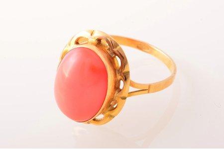 кольцо, золото, 750 проба, 3.65 г., размер кольца 18.75, кораллы