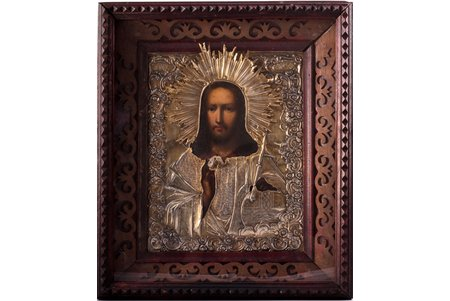 icon, Jesus Christ Pantocrator, in icon case, board, silver, painting, guilding, 84 standart, Russia, 1866, 31 x 27 x 6.9 / 22 x 17.6 x 2.2 cm