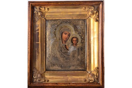 icon, Our Lady of Kazan, in icon case, board, silver, painting, 84 standart, Russia, 1888, 34.8 x 30.7 x 8.8  / 22 x 17.8 x 2.4 cm