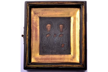 icon, Holy Apostles Peter and Paul, in icon case, board, silver, painting, 84 standart, Russia, 1908-1917, 11.2 x 10 x 3.8 cm