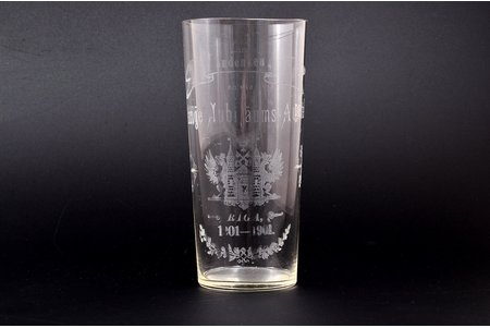 glass, 700th anniversary of Riga, Zum andenken and die 700-jahriga Jubilaums-Ausstellung, Riga 1201-1901, Latvia, Russia, h - 13.1 cm, with scratches