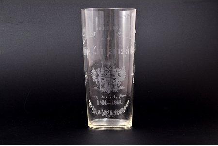 стакан, 700-летие Риги, Zum andenken and die 700-jahriga Jubilaums-Ausstellung, Riga 1201-1901, Латвия, Российская империя, h - 13.1 см, есть царапины