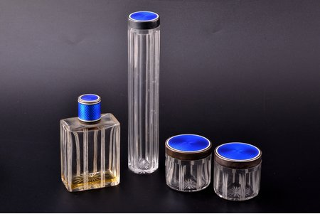 perfume set, silver, 950 standart, glass, 4 items, enamel, total weight of bottle caps 69.75g, France, 15.9 / 8.8 / 4.4 / 4.4 cm