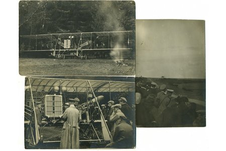 """фотография, 3 шт., В. М. Абрамович летом 1912 г. поставил рекорд высоты с пассажиром - 2100 м, выполнил перелет из Берлина в Санкт-Петербург, что заняло 24 дня, Биплан """"Райт-Абрамович"""" принимал участие в Конкурсе военных аэропланов 1912 г., 11 сентября 1912 г. поставил мировой рекорд продолжительности полета с четырьмя пассажирами, продержавшись в воздухе 45 мин. 57 сек., Латвия, Российская империя, начало 20-го века, 14x9, 13,6x8,4, 12,8x8,4 см"""