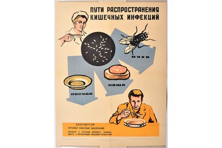poster, Ways of intestinal infection spreading, Latvia, USSR, 1964, 57.6 x 43.1 cm, publisher - LSSR Ministry of Health, National sanitary education instance, Riga