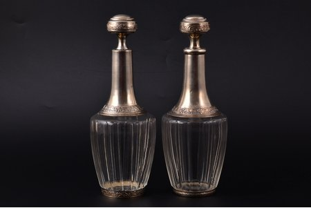 a pair of carafes, silver, 950 standart, 1920-1945, Henri Lapeyre, Paris, France, h (с пробкой) 20.3 cm, h (with a lid) 25 cm