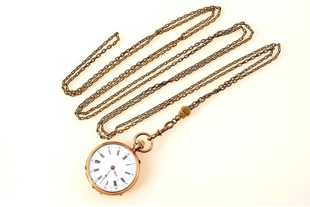 "pocket watch, ""Remontoir"", with a chain, Switzerland, gold, metal, 14 K standart, total weight 47.80 g, 4.2 x 3.3 cm, 30 mm, chain length  150 cm, in working condition"