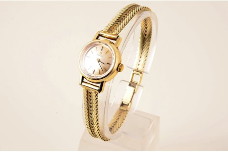 "wristwatch, ""Omega"", ladies', Switzerland, gold, 585 standart, 25 g, 2 x 2.5 x 0.7 cm, 16 mm, length 18.1 cm, in working codition"