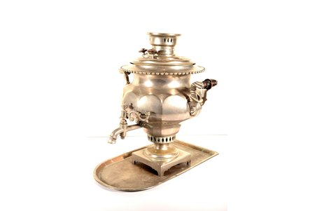 "samovar, Br. Batashevs', with tray, shape ""faceted vase"", brass, nickel plating, Russia, the end of the 19th century, weight (weight with tray) 9850 g, h (samovar) 47.5 cm, tray 48.7 x 27 cm, NO DELIVERY - LOCAL PICKUP ONLY!"