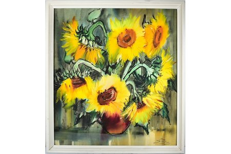 "Brekte Ilona (1952), ""Sunflowers"", 1986, paper, water colour, 80x73 cm"