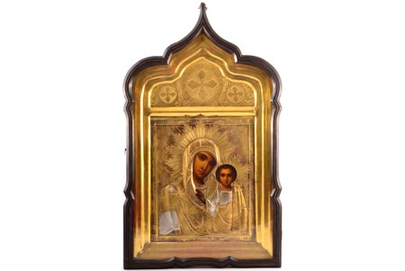 icon, Kazan icon of the Mother of God, in icon case, board, painting, brass, Russia, the end of the 19th century, 31 x 26.5 x 2 cm, icon case 62 x 37 x 7.6 cm