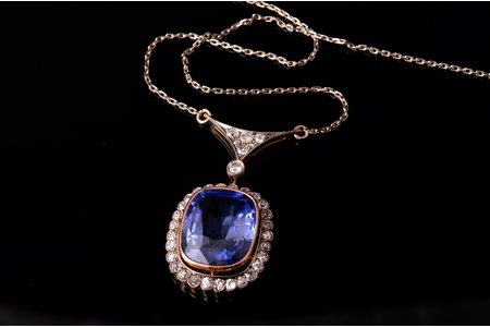 a necklace, gold, 583 standart, 8.31 g., diamond, synthetic sapphire, USSR, chain length - 46 cm, pendant - 3.4 x 1.8 cm